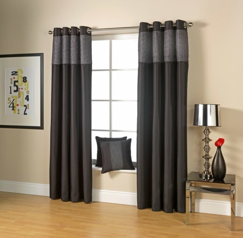 Silver and black curtains